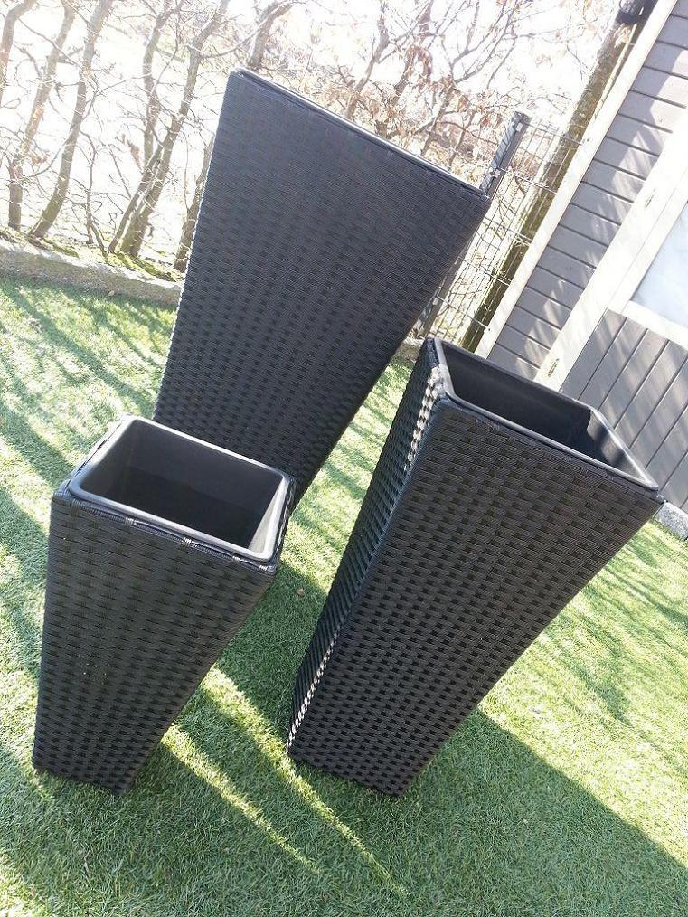 3erset poly rattan kunstrattan pflanzk bel blumenk bel. Black Bedroom Furniture Sets. Home Design Ideas